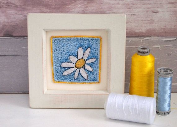Original embroidery Daisy Hand painted frame by CarlyGilliatt