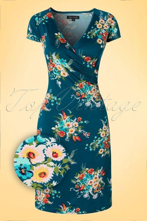 King Louie Cross Dress Blue Storm Floral Dress