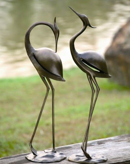 Delightful Add More Life To Your Garden, Lanai Or Any Outdoor Space With This Lovely  Pair Of Aluminum SPI Garden Heron Sculptures.