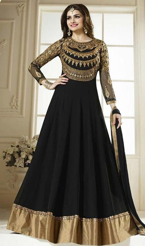 Spice up your looks as Prachi Desai in this black color embroidered georgette floor length Anarkali suit. The lace, stones, patch and resham work seems to be chic and aspiration for any event. #prachidesaidresses #bollywooddress #prachidesaibollywoodsuit