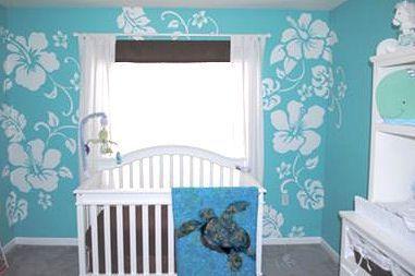 pinterest baby boy hawaiian theme   Blue and White Hawaiian Baby Boy Nursery Decor with Sea Turtle Theme ...