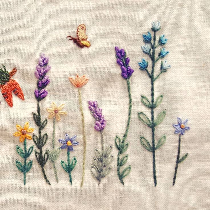 Wildflower border embroidery with butterflies