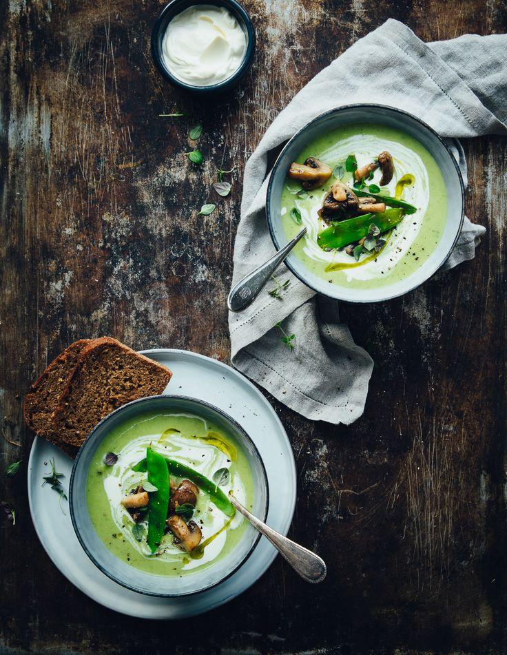 Creamy Celeriac & Kale Soup with Buttery Mushrooms & Sugar Snap Peas | gf