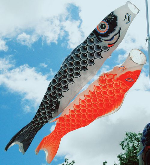 Koinobori: Carp banners flying in the sky
