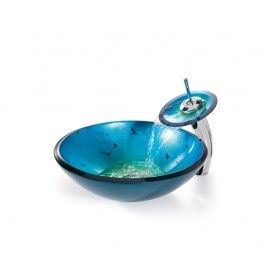 Irruption Blue Glass Vessel Sink And Waterfall Faucet