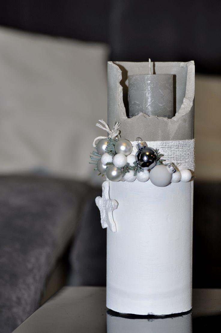 Betonowy Świąteczny świecznik
