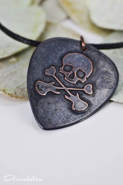 Skull  Custom guitar pick necklace  large  Classy by AmulettaHu