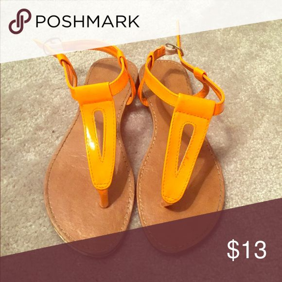 Neon Sandals Neon orange fashion sandals, only worn a few times, very good condition. Perfect for beach days! Shoes Sandals
