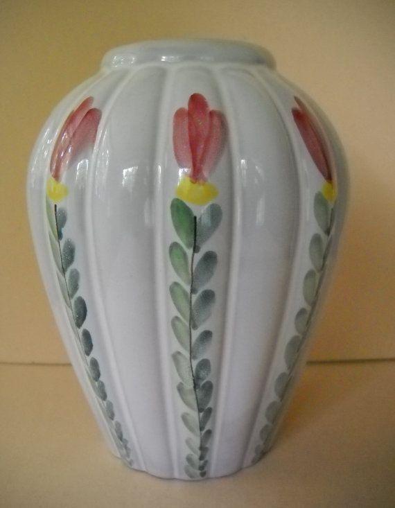 Vintage Arabia Finland Hand Painted Pottery Vase Tulips Kurt Ekholm Design