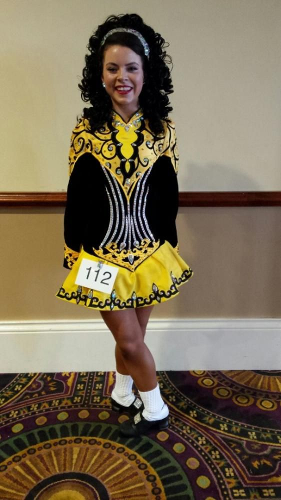 Spectacular Yellow Gavin Doherty Irish Dance Dress Solo Costume For Sale