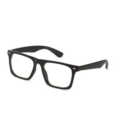 $10   Black. Glasses with plastic frames and clear lenses.