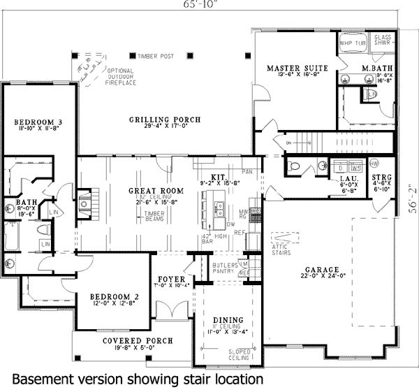 1960 sq ft Plan 60508ND: 3 Bed House Plan with 17'-Deep Outdoor Living Room