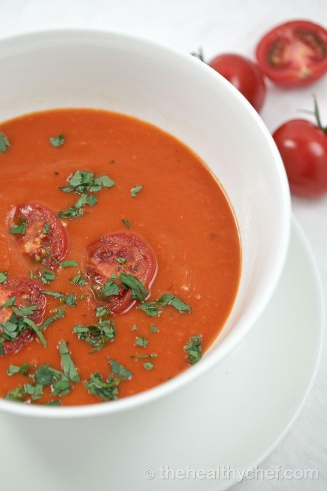 Classic Tomato Soup This is a beautiful classic tomato soup that has been a part of my cooking repertoire for many years. When I make soups in my home, I go for simplicity and freshness, so that I can immerse my senses in the unadulterated flavour of the ingredients. I don't use a vegetable stock, I use plain filtered water as I find that using stock can sometimes interfere and complicate that naturalness of this soup.