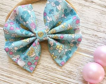 Baby Girl | Newborn | Toddler | Girls Easter Bunny Fabric Bow Nylon Headband | Hair Clip | Pig Tail Bows | Bow Tie | Hair Accessory