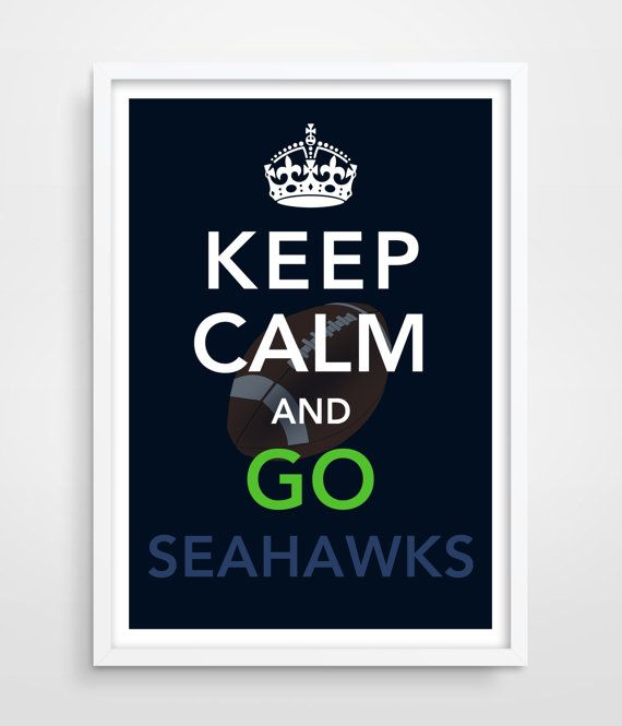 SEATTLE Seahawks Keep Calm Football Print by TheWatermelonFactory