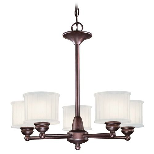 Modern Chandelier with White Glass in Lathan Bronze Finish at Destination Lighting