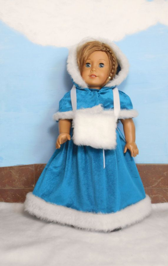 Velvet Doll Dress, Capelet and Muff, Faux Fur Trimmed Teal Velvet Dress, Capelet and Faux Fur Muff, fits 18 Inch Dolls such as American Girl