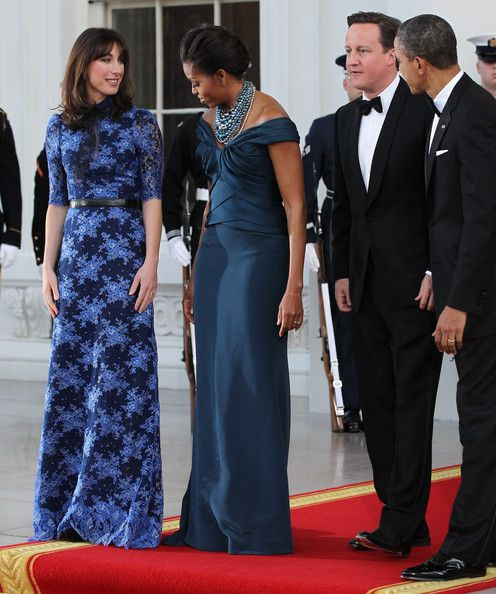 Samantha Cameron Evening Dress - Samantha Cameron looked oh-so-elegant in this floral floor-sweeping dress for her visit to the White House.