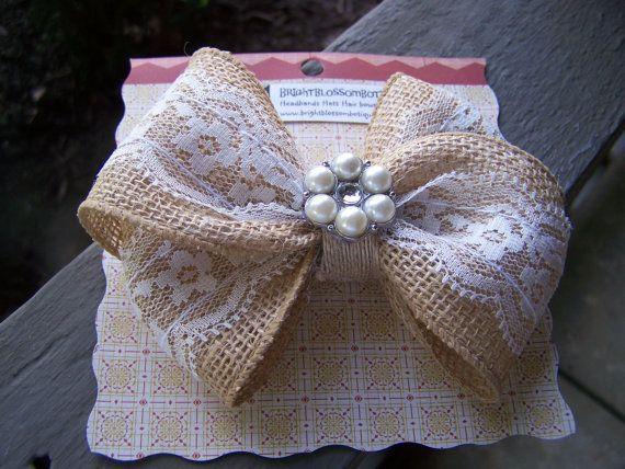 Burlap lace botique hair bow clip newborn to adult BrightBlossomBotique, $8.00