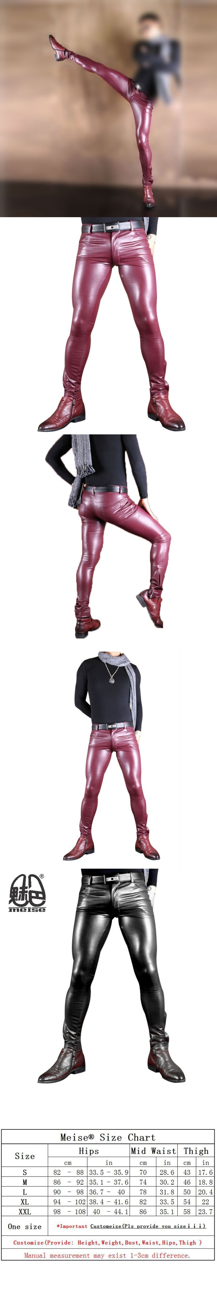 2017 New Plus Size Faux Leather Pants Men Black and Red Elastic Shiny Clubwear Skinny Pants Gay Club Dancewear