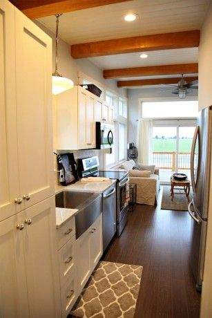 Inside Pic Of Park Model Love The Exposed Wood Beams And Contrasting Colors In Kitchen