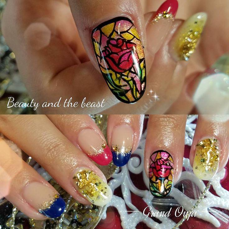 美女と野獣nail ステンドグラス風に^_^  おまかせでさせていただきました‼ #nail #nails #nailart #art  #nailswag #nailstagram  #instanail #instanails  #gelnail #gelnails  #handdrawing  #handpainted #osaka  #japan#design#ネイル  #ネイルアート #アート #ジェルネイル #冬ネイル #シンプルネイル#大阪 #心斎橋#美女と野獣#beautyandthebeast