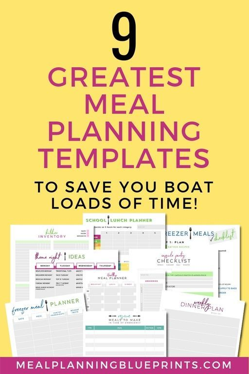 9 Greatest Meal Planning Templates Millennial Lifestyle Board