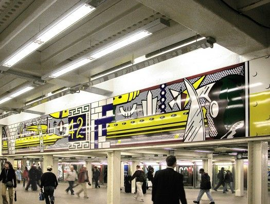 Times Square Mural (2002) © Estate of Roy Lichtenstein. Times Square–42nd Street Station, A, C, E, N, Q, R, S, 1, 2, 3, 7 lines, MTA New York City Transit. Commissioned and owned by Metropolitan Transportation Authority Arts for Transit. Photo: Rob Wilson.