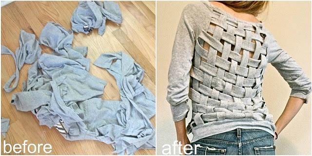 diy basket weave shirt: Baskets Weaving, Basketweav, Trash To Couture, Old Shirts, Diy Clothing, Weaving Shirts, Diy Shirts, T Shirts, Old Clothing