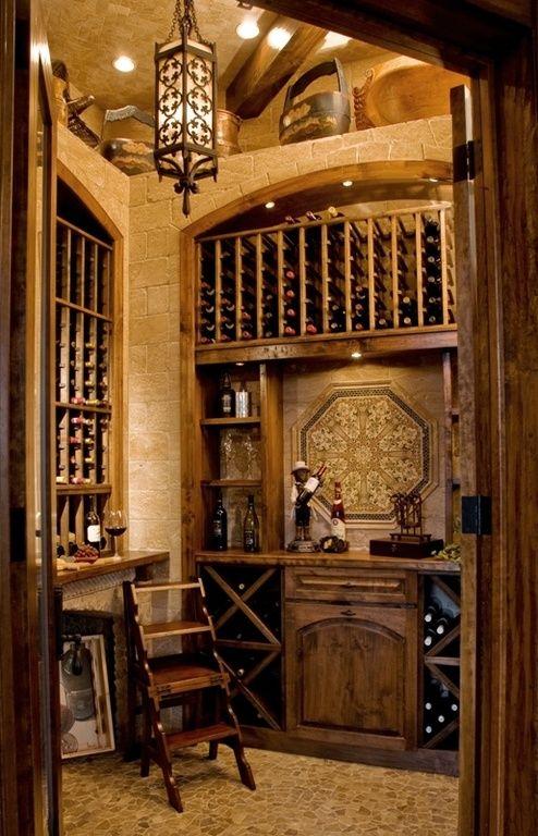 Mediterranean Wine Cellar with Pendant light, slate floors, Riedel Vinum XL Oaked Chardonnay 4 Piece Value Set, High ceiling