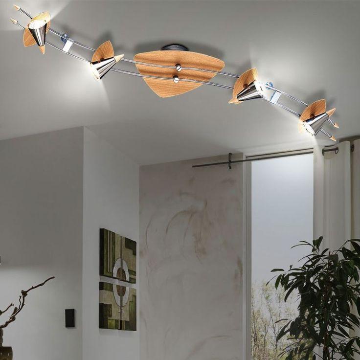 Fresh Details zu Decken Leuchte Kegel Strahler Beleuchtung Holz Buche Silber er Spot Lampe IP