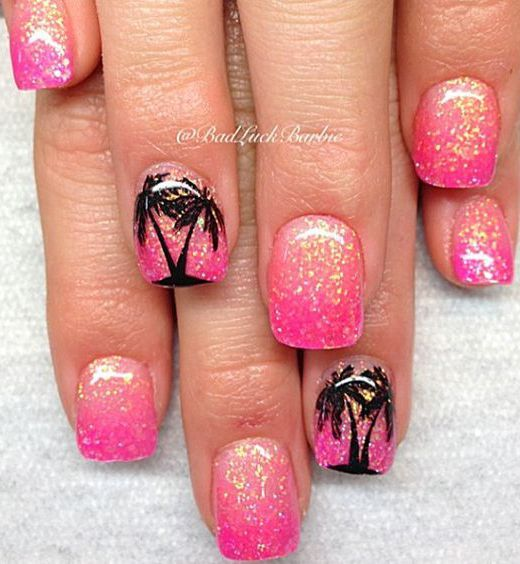 18 Chic Nail Designs for Short Nails: #4. Hot Pink Glitter Nail Design - 25+ Unique Chic Nail Designs Ideas On Pinterest Neutral Nails