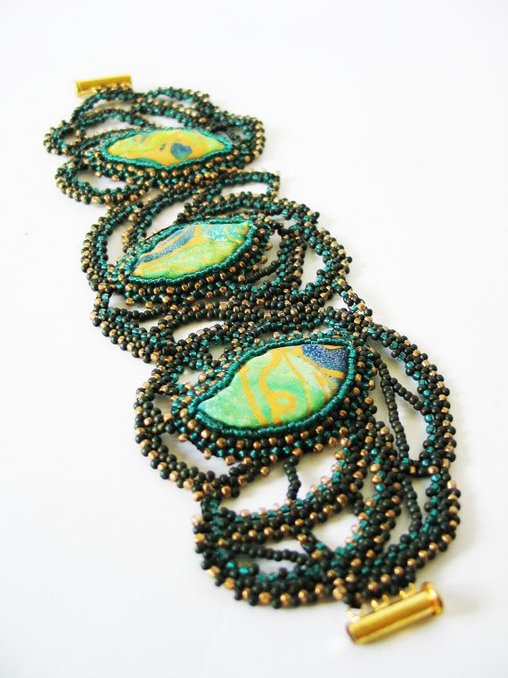 Bead embroidery bracelet with natural silk handpainted