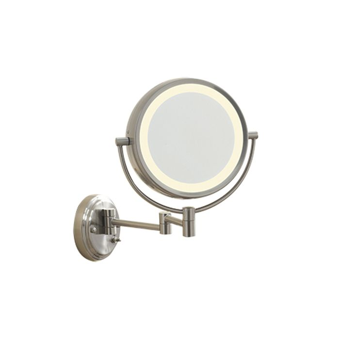 Conair Lighted 7X Brushed Nickel Wall Mount Fluorescent Hotel Makeup Mirror