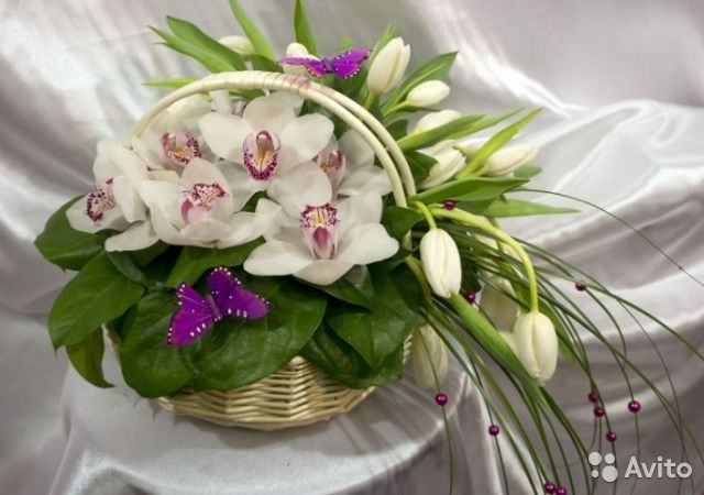Букеты и композиции из орхидей (Цимбидиум, Италия)— фотография №1