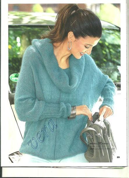 """Пуловер с рукавами """"летучая мышь"""" из кидмохера"""