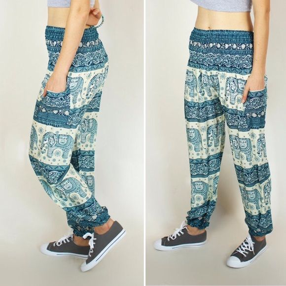 The Elephant Pants Teal and White Teal and white elephant print thai pants by The Elephant Pants. Comfortable for lounging, yoga, and adventures.  Elastic waist.  New without tags in excellent condition. Bundle this item along with 2 or more items from my closet and save an extra 10% off!   Feel free to comment below if you have any questions :)  Thanks The Elephant Pants Pants
