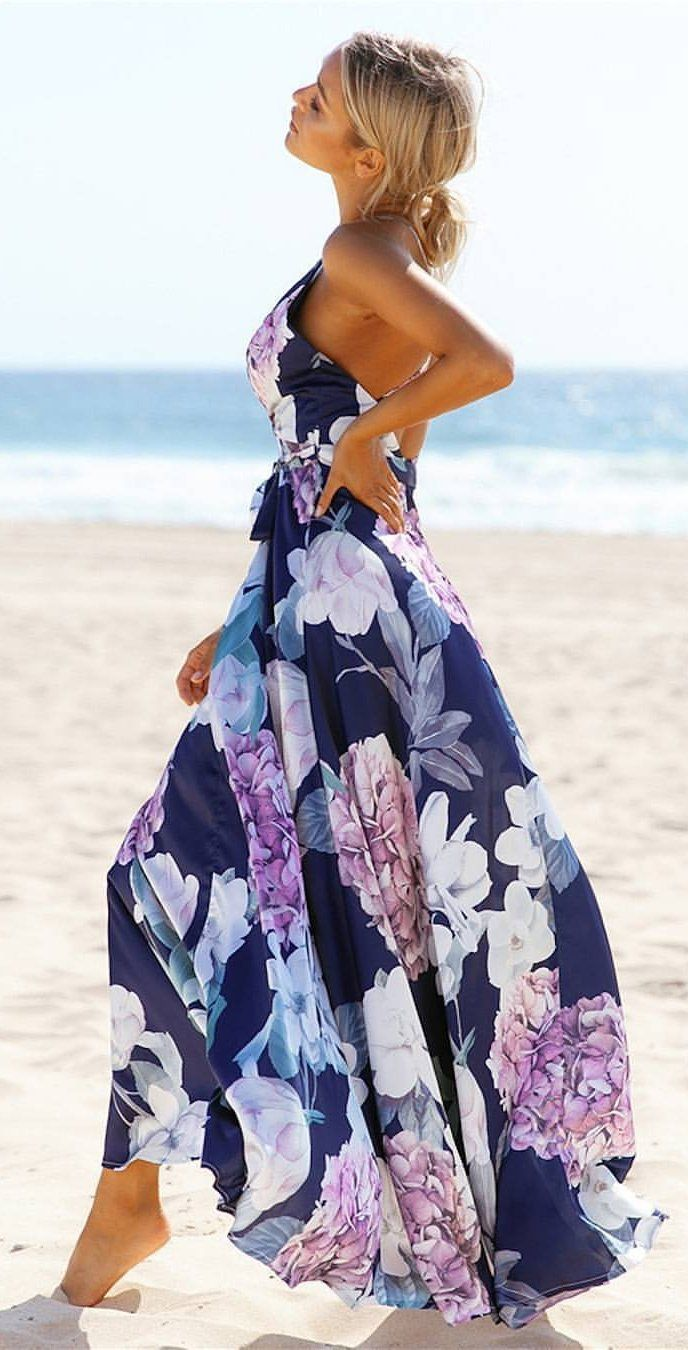 #summer #outfits  Navy Floral Maxi Dress