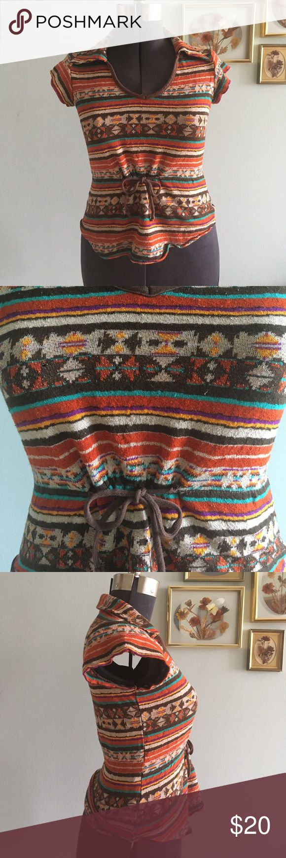 🍫 VINTAGE 70s collared Mister Marty Aztec shirt Adorable Mister Marty raging 70s shirt, cute collar and partial tie on the waist. Some pulling in fabric, but overall good shape! S/M Vintage Tops Blouses