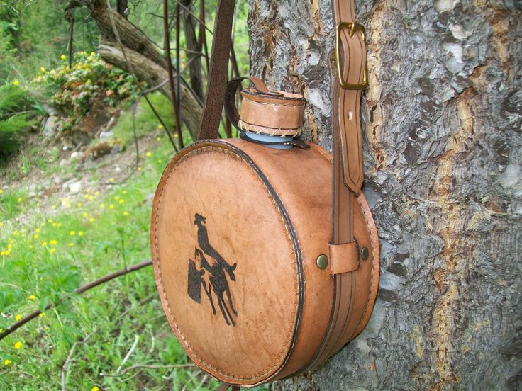 Leather covered canteen made at Boulder Creek Saddle Shop, Kettle Falls, WA.  Check us out at bouldercreeksaddleshop.com.
