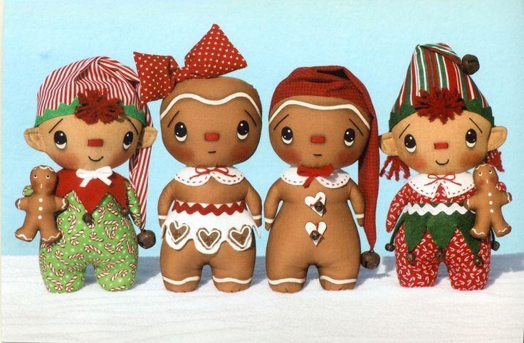 """Gingerbread девочка и мальчик Рождество декоративные ткани кукла картина !!!  Bebe """"!!!  Любовь эти маленькие мальчики и девочки пряники !!!"""