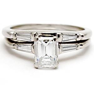 Vintage Emerald Cut Diamond Engagement Bridal Ring Set