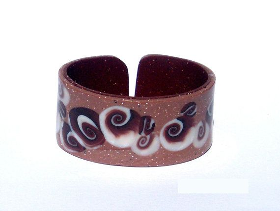 Polymer clay bracelet summer cuff brown shell ammonite; Bonus a pair of earings!