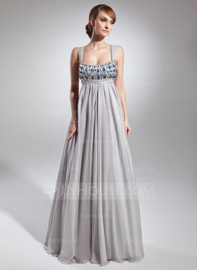 Holiday Dresses - $134.49 - Empire Scoop Neck Floor-Length Chiffon Charmeuse Holiday Dress With Ruffle Beading (020036566) http://jjshouse.com/Empire-Scoop-Neck-Floor-Length-Chiffon-Charmeuse-Holiday-Dress-With-Ruffle-Beading-020036566-g36566
