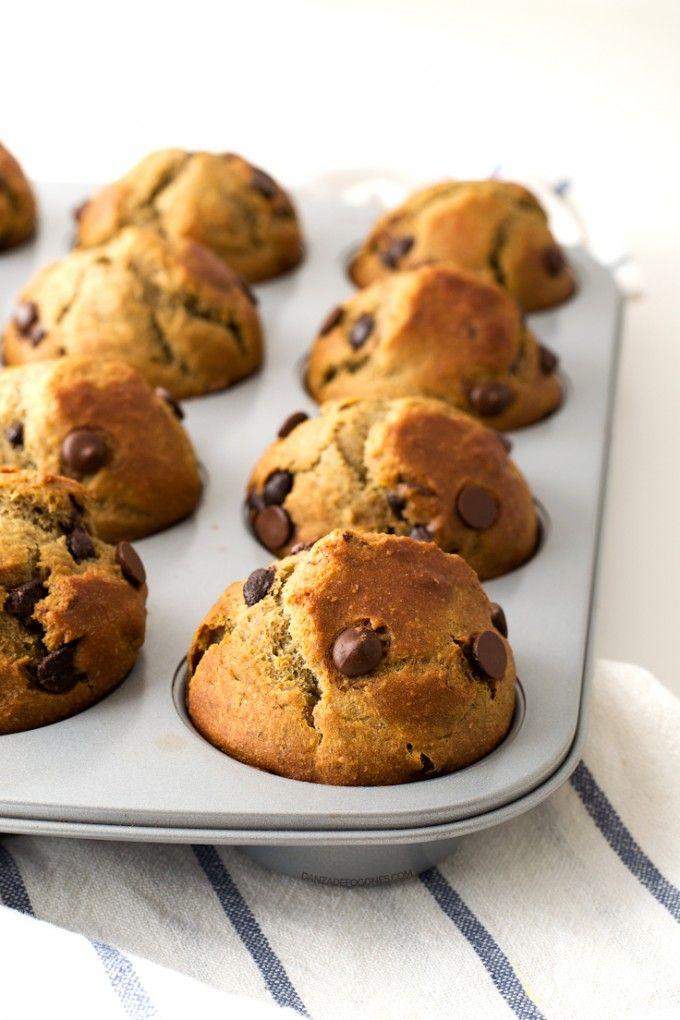 Muffins Veganos con Chips de Chocolate,están echas con harina de trigo pero se pueden sustituir x arroz u otras,os dejo un pin de como sustituir la de trigo por harinas sin gluten