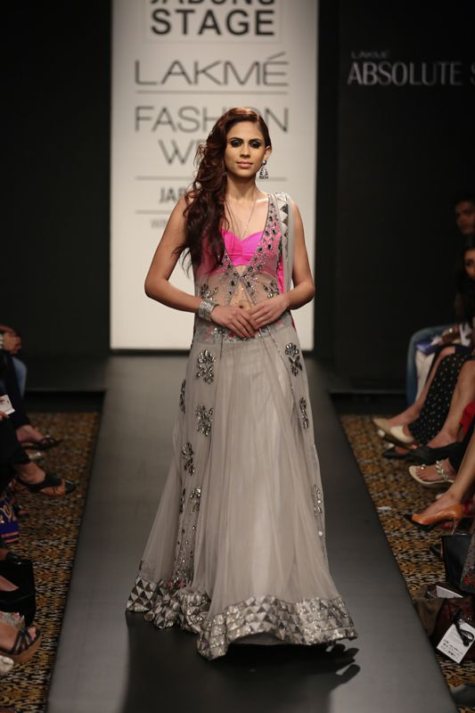 Arpita Mehta Off-White Lacha #Lehenga With Bright Pink #Blouse At Lakme Fashion Week 2014.