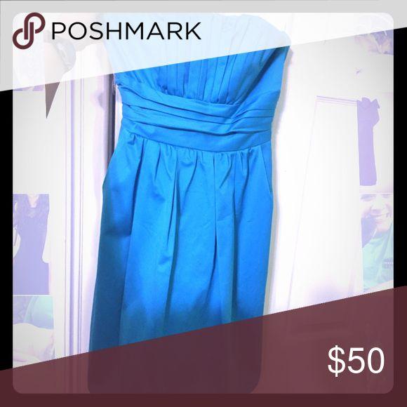 David's Bridal size 6 Malibu Blue Cotton Sateen Short Strapless Ruched Dress David's Bridal Dresses Strapless
