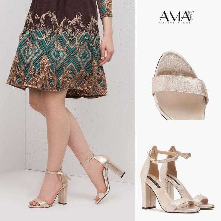 Sandale aurii cu toc inalt, gros - fabricate din piele naturala