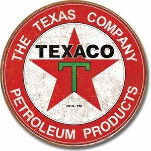 "Texaco - Round Nostalgic Metal Sign measures 12"" in diameter. Reproductions of vintage advertising. Full, rich, vibrant colors. Great for restaurants, man caves or anywhere a nostalgic look is desired"