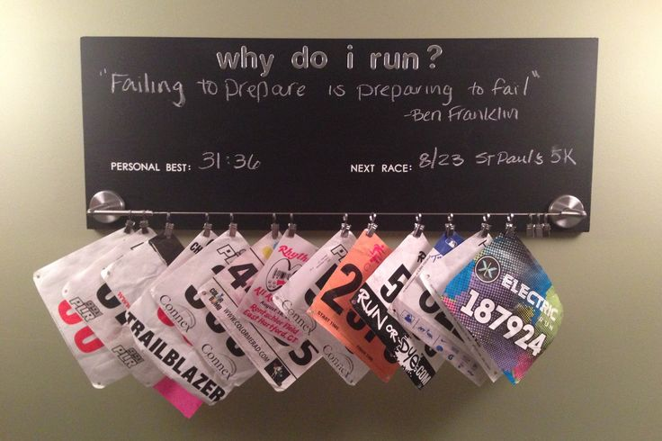 Race Bib Holder: Chalkboard paint, curtain hanger from IKEA, and stickers from Michael's Crafts. I couldn't commit to one quote and found this website http://www.pleasval.k12.ia.us/highschool/teachers/hoffmanjoshua/running_quotes.htm which has a TON of running/motivational quotes.